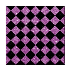 Square2 Black Marble & Purple Glitter Face Towel by trendistuff