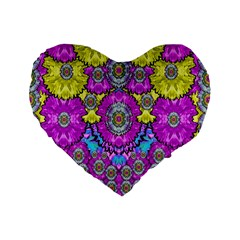 Fantasy Bloom In Spring Time Lively Colors Standard 16  Premium Heart Shape Cushions by pepitasart