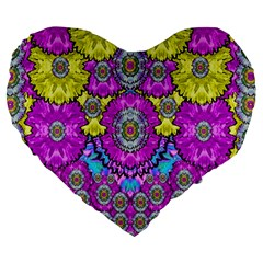 Fantasy Bloom In Spring Time Lively Colors Large 19  Premium Heart Shape Cushions by pepitasart