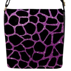 Skin1 Black Marble & Purple Glitter Flap Messenger Bag (s) by trendistuff