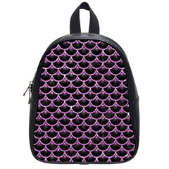 Scales3 Black Marble & Purple Glitter (r) School Bag (small) by trendistuff