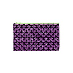 Scales3 Black Marble & Purple Glitter Cosmetic Bag (xs) by trendistuff
