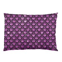 Scales2 Black Marble & Purple Glitter Pillow Case (two Sides) by trendistuff