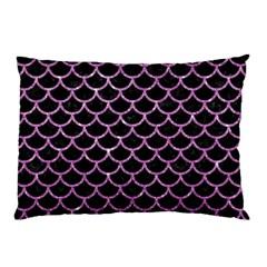 Scales1 Black Marble & Purple Glitter (r) Pillow Case by trendistuff