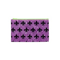 Royal1 Black Marble & Purple Glitter (r) Cosmetic Bag (xs) by trendistuff