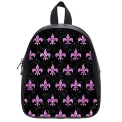 Royal1 Black Marble & Purple Glitter School Bag (small) by trendistuff
