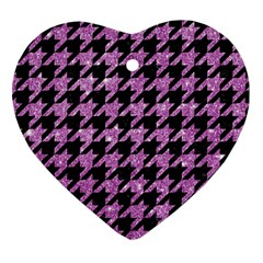 Houndstooth1 Black Marble & Purple Glitter Heart Ornament (two Sides) by trendistuff
