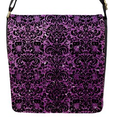 Damask2 Black Marble & Purple Glitter Flap Messenger Bag (s) by trendistuff
