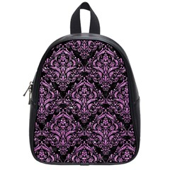 Damask1 Black Marble & Purple Glitter (r) School Bag (small) by trendistuff