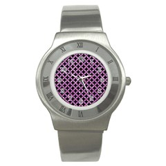 Circles3 Black Marble & Purple Glitter (r) Stainless Steel Watch by trendistuff