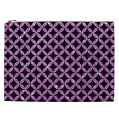 Circles3 Black Marble & Purple Glitter (r) Cosmetic Bag (xxl)  by trendistuff