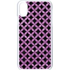 Circles3 Black Marble & Purple Glitter (r) Apple Iphone X Seamless Case (white)