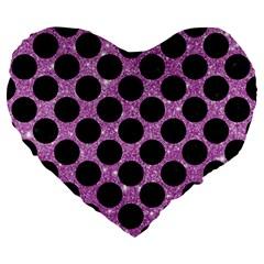 Circles2 Black Marble & Purple Glitter Large 19  Premium Heart Shape Cushions by trendistuff