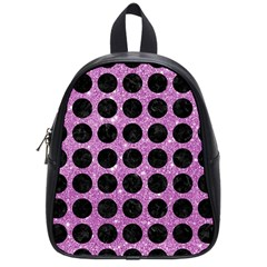 Circles1 Black Marble & Purple Glitter School Bag (small) by trendistuff