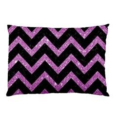 Chevron9 Black Marble & Purple Glitter (r)chevron9 Black Marble & Purple Glitter (r) Pillow Case by trendistuff
