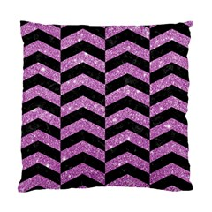 Chevron2 Black Marble & Purple Glitter Standard Cushion Case (two Sides) by trendistuff