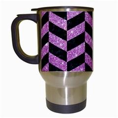 Chevron1 Black Marble & Purple Glitter Travel Mugs (white) by trendistuff