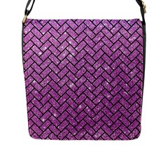 Brick2 Black Marble & Purple Glitter Flap Messenger Bag (l)  by trendistuff