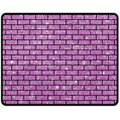Brick1 Black Marble & Purple Glitter Fleece Blanket (medium)  by trendistuff