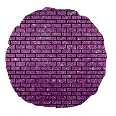 Brick1 Black Marble & Purple Glitter Large 18  Premium Flano Round Cushions by trendistuff