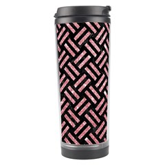 Woven2 Black Marble & Pink Glitter (r) Travel Tumbler by trendistuff
