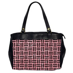 Woven1 Black Marble & Pink Glitter Office Handbags (2 Sides)  by trendistuff
