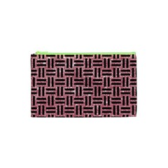 Woven1 Black Marble & Pink Glitter Cosmetic Bag (xs) by trendistuff