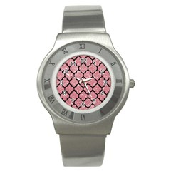 Tile1 Black Marble & Pink Glitter Stainless Steel Watch by trendistuff