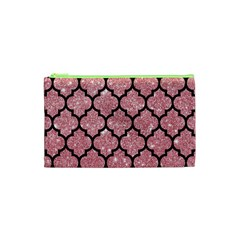 Tile1 Black Marble & Pink Glitter Cosmetic Bag (xs) by trendistuff