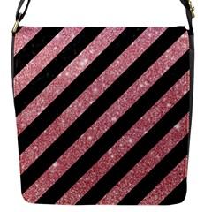 Stripes3 Black Marble & Pink Glitter (r) Flap Messenger Bag (s) by trendistuff