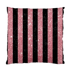 Stripes1 Black Marble & Pink Glitter Standard Cushion Case (two Sides) by trendistuff
