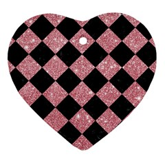 Square2 Black Marble & Pink Glitter Heart Ornament (two Sides) by trendistuff