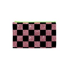 Square1 Black Marble & Pink Glitter Cosmetic Bag (xs) by trendistuff