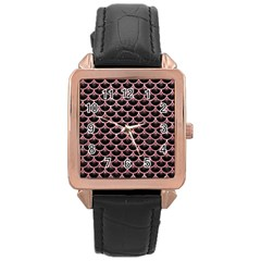 Scales3 Black Marble & Pink Glitter (r) Rose Gold Leather Watch  by trendistuff