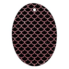 Scales1 Black Marble & Pink Glitter (r) Oval Ornament (two Sides) by trendistuff