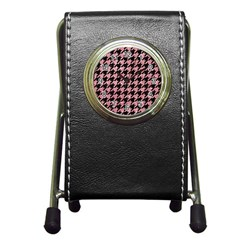 Houndstooth1 Black Marble & Pink Glitter Pen Holder Desk Clocks by trendistuff