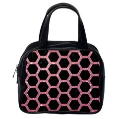 Hexagon2 Black Marble & Pink Glitter (r) Classic Handbags (one Side) by trendistuff