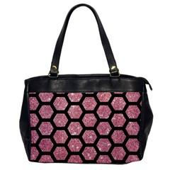 Hexagon2 Black Marble & Pink Glitter Office Handbags by trendistuff