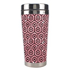 Hexagon1 Black Marble & Pink Glitter Stainless Steel Travel Tumblers by trendistuff