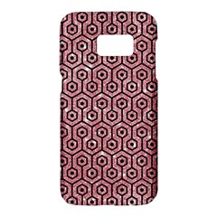 Hexagon1 Black Marble & Pink Glitter Samsung Galaxy S7 Hardshell Case  by trendistuff