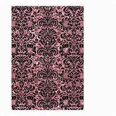 Damask2 Black Marble & Pink Glitter Small Garden Flag (two Sides) by trendistuff
