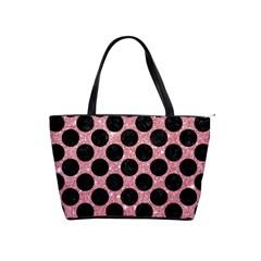 Circles2 Black Marble & Pink Glitter Shoulder Handbags by trendistuff