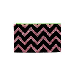 Chevron9 Black Marble & Pink Glitter (r) Cosmetic Bag (xs) by trendistuff