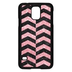 Chevron2 Black Marble & Pink Glitter Samsung Galaxy S5 Case (black) by trendistuff