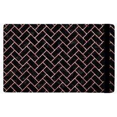 Brick2 Black Marble & Pink Glitter (r) Apple Ipad 3/4 Flip Case by trendistuff