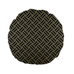 Woven2 Black Marble & Khaki Fabric Standard 15  Premium Flano Round Cushions by trendistuff