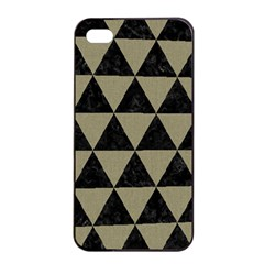 Triangle3 Black Marble & Khaki Fabric Apple Iphone 4/4s Seamless Case (black) by trendistuff