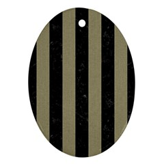Stripes1 Black Marble & Khaki Fabric Oval Ornament (two Sides) by trendistuff