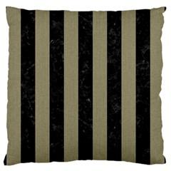 Stripes1 Black Marble & Khaki Fabric Large Cushion Case (two Sides) by trendistuff