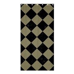 Square2 Black Marble & Khaki Fabric Shower Curtain 36  X 72  (stall)  by trendistuff